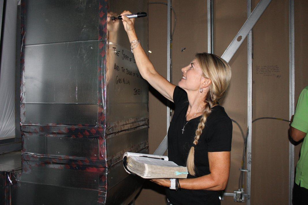 writing scripture on walls, middle school teacher