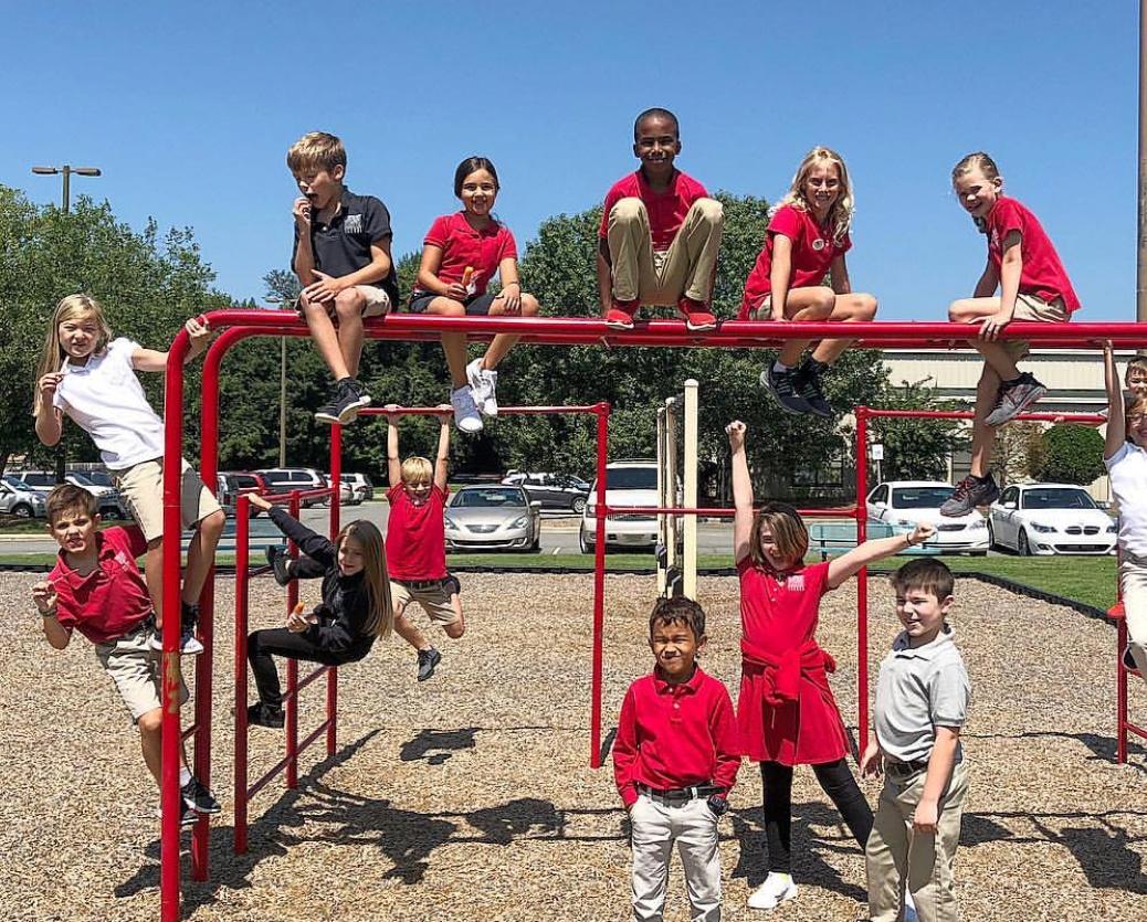 back to school kids on playground