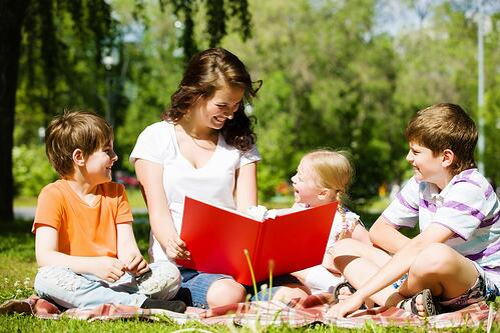 Summer reading in park